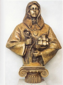 Santa María de Cervellón, Patrona. Obra escultórica, en bronce semidorada por Lev Kerbel