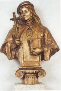 Beata Mariana de Jesús. Terciaria Mercedaria. Protectora de los seglares comprometidos con su Iglesia. Obra en bronce semidorado de Lev Kerbel.