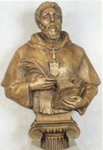 San Pedro Pascual, intelectual y Obispo de Jaén. Patrono de estudiantes e intelectuales. Obra en bronce semidorado de Lev Kerbel.